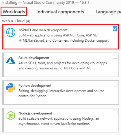 visual studio asp.net and web development workload