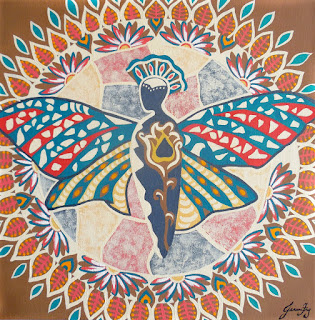 Original Butterfly Mandala Painting with Art Nouveau Color Palette