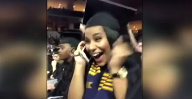 Watch College Grad's Reaction When She's Offered Job During Commencement