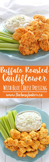Buffalo Roasted Cauliflower with Blue Cheese Dipping Sauce www.thebusybaker.ca