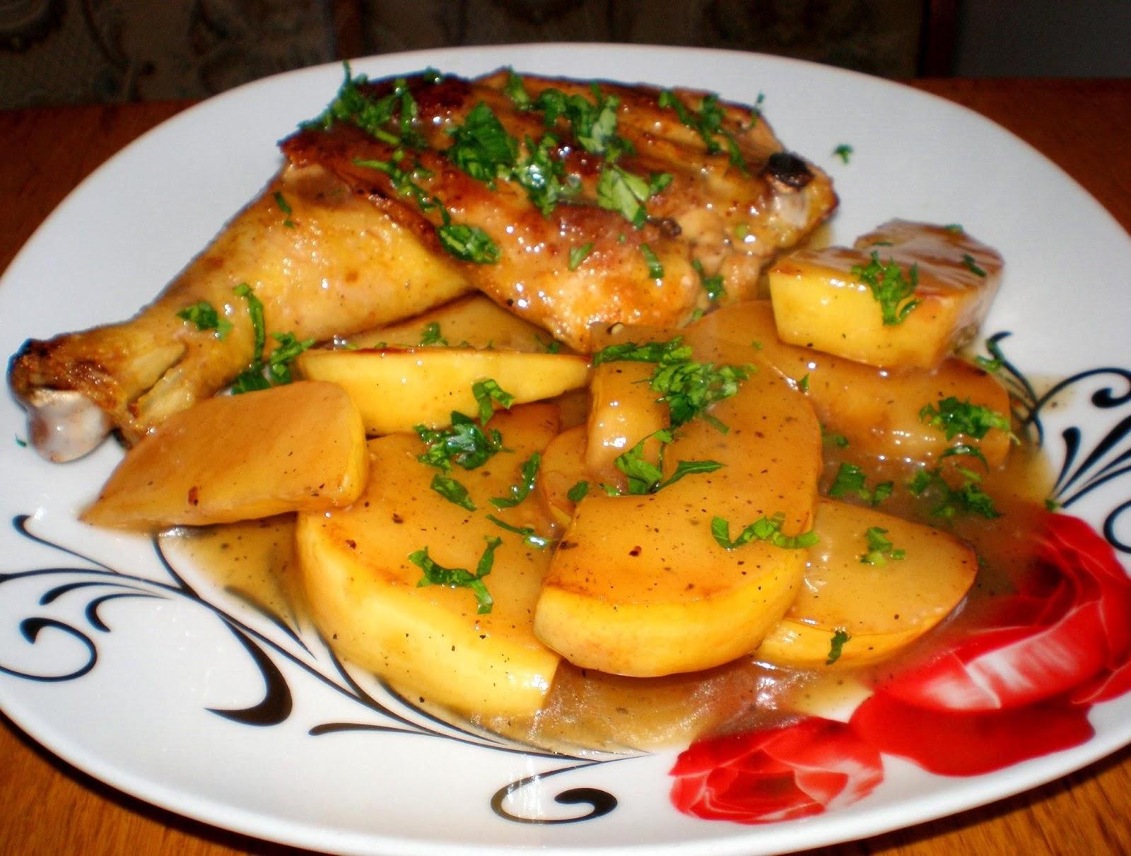 Mâncare de gutui cu pui prăjit