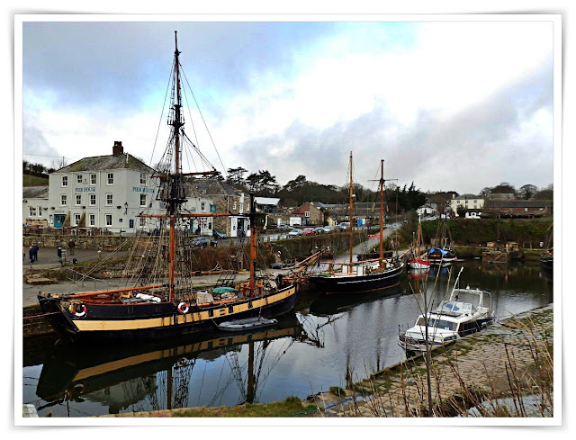 Charlestown Harbour, Cornwall with tall ships