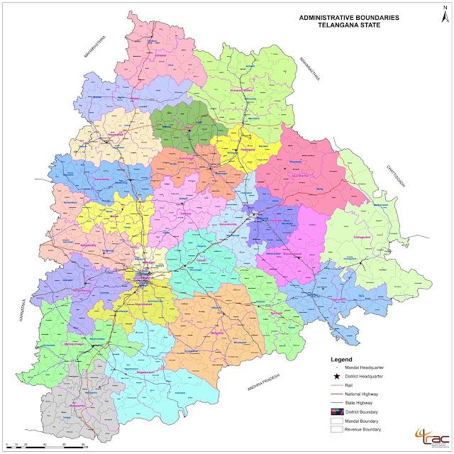 Telangana new Districts 2016 map