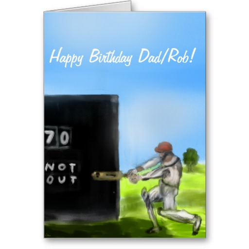 Picture of 70th Birthday Card with a Cricketer on it.