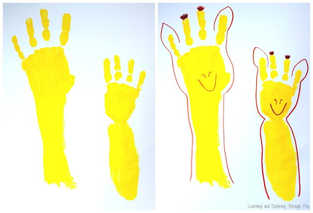 Hand Print Art - World Giraffe Day - Learning and Exploring Through Play