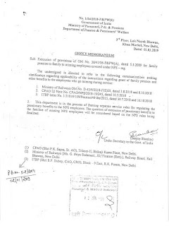 Family Pension to family to missing employees covered under NPS: CPAO Order dated 13.02.2019