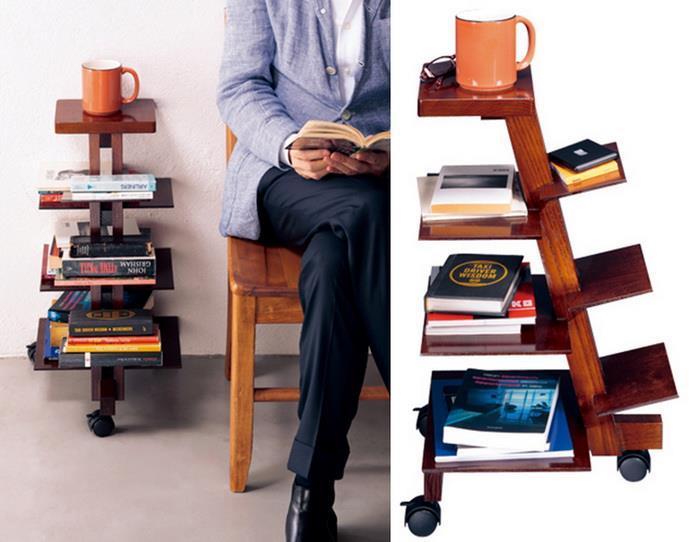 Mobile Bookshelf And Side Table