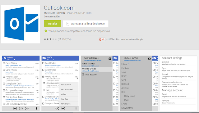Outlook.com mejora su app para dispositivos Android