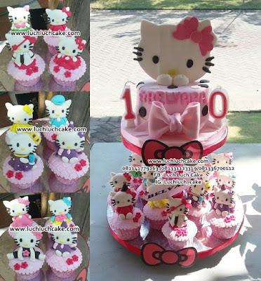 Kue Tart dan Cupcake Tier Tema Hello Kitty Ulang Tahun