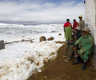 The tiny kingdom of Lesotho has a ski resort high in the cold snowcapped mountains.