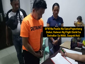 """A notorious swindler operating within the Ninoy Aquino International Airport premises after victimizing an overseas Filipino worker bound to Dubai and caused the poor OFW to miss her flight.    Ads     Sponsored Links   The authorities already arrested the notorious swindler identified as Joseph Pascasio. The suspect freely roams around NAIA terminal 3 duping passengers including OFWs.  On September 23, Alvina Aragat of Barangay Waan, Davao City was set to board her flight to Dubai. According to reports, the suspect approached the OFW and introduced himself to the victim as an immigration officer. The suspect took her passport and cash amounting to P500.00. He told the victim to produce P3,000.00 to redeem her passport and asked the OFW to send him a message if she already has the money. Unable to produce the money asked by the suspect, the OFW missed her flight.  She immediately reported the incident to the authorities who acted quickly and coordinated with the police intelligence and investigation division and the airport police who conducted a manhunt at the Terminal 3 which resulted to the arrest of the suspect.  They recovered from the suspect the victim's passport and a plastic sachet of an alleged """"shabu"""". He is now facing charges which include theft, usurpation of authority and the illegal possession of illegal drugs. According to the report, the suspect is a member of the notorious """"Salisi gang"""" and was already charged with different robbery-related cases. Filed under the category of notorious swindler, Ninoy Aquino International Airport , overseas Filipino worker, Dubai, OFW,"""