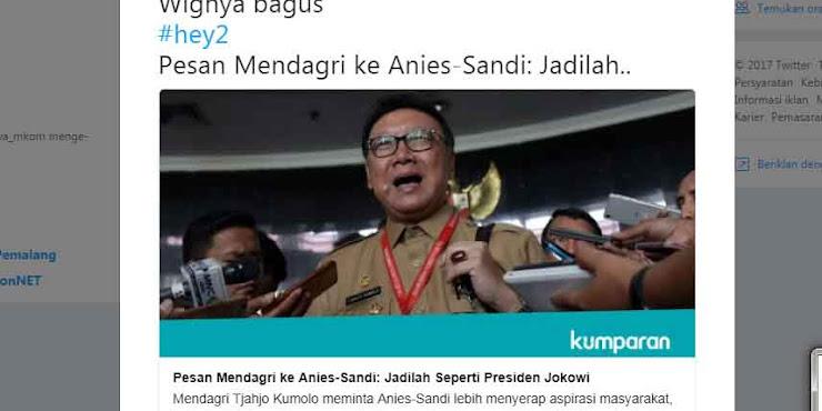Mendagri Tjahjo Suruh Anies-Sandi Tiru Jokowi, Netizen Protes