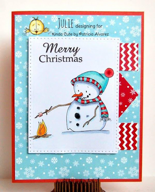 Christmas card using a snowman roasting a marshmallow
