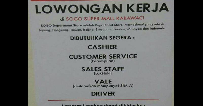 Lowongan Kerja Loker Via Email Sogo Department Store Tangerang Lowongan Kerja Loker Terbaru