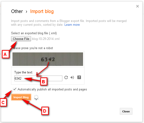 Restore or Import your Blogger Post Page