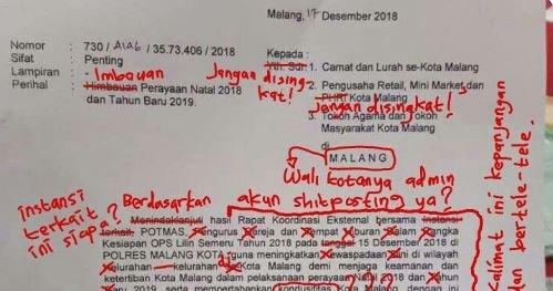 Surat Imbauan Wali Kota Malang Dikoreksi Warganet, Mirip Revisi Skripsi