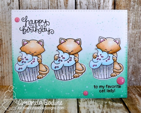 Cat and cupcake Birthday card by Amanda Bodine   Newton Loves Cake Stamp Set by Newton's Nook Designs
