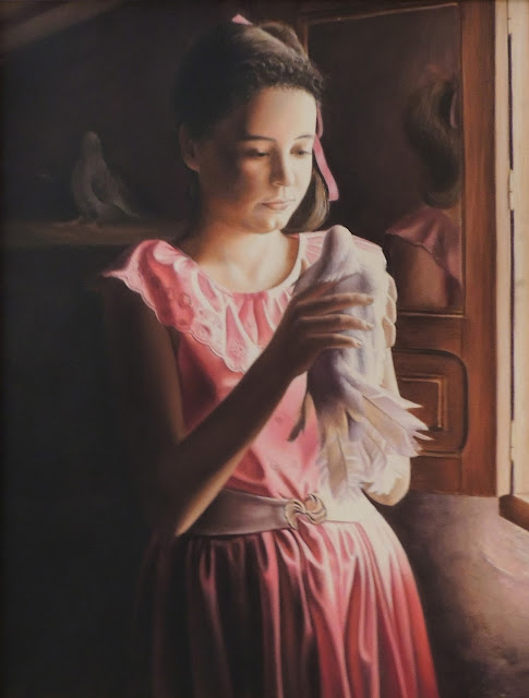 Pintura hiperrealista retrato mujer artista catalán Joan Mir