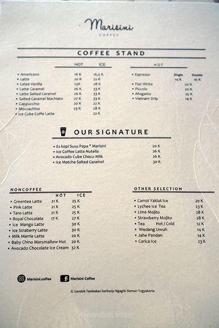 Daftar Harga dan Menu di Kedai Marisini Coffee Jogja