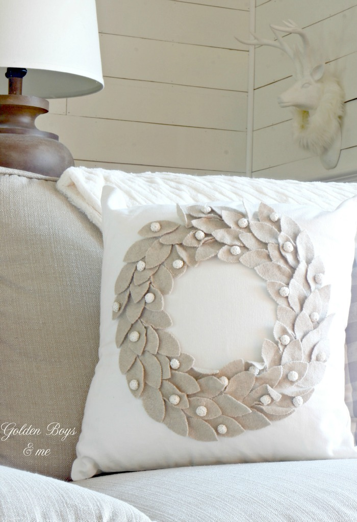 Joss and Main neutral wreath pillow - www.goldenboysandme.com