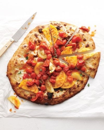 Ricotta Pizza With Fresh And Roasted Tomatoes