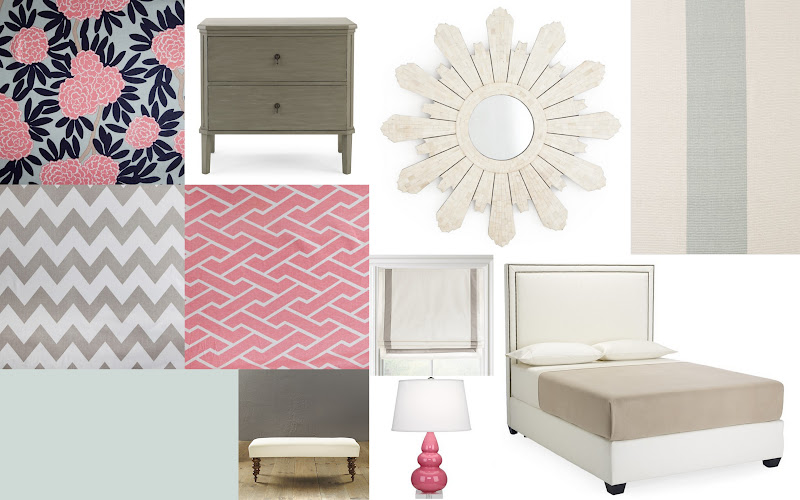 view from my heels: Navy, Pink, and Gray Bedroom