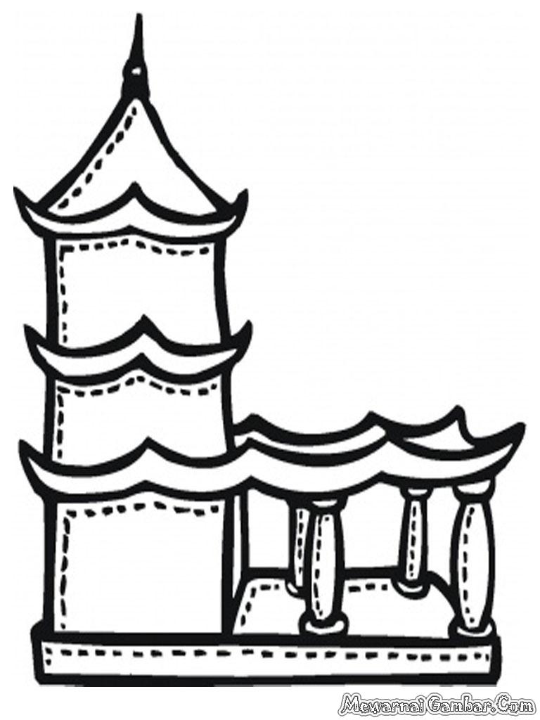 Sketsa Gambar Vihara