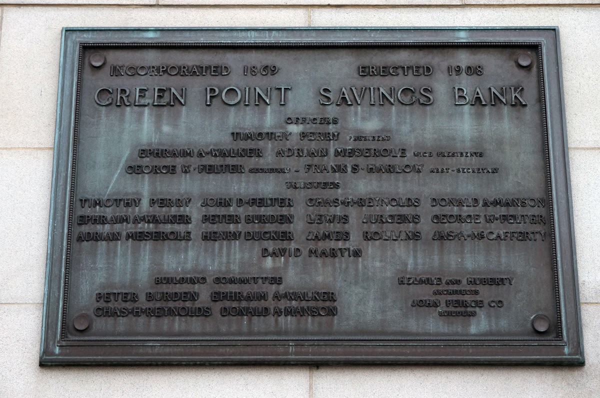 Greenpoint Savings Bank bronze plaque on side of building