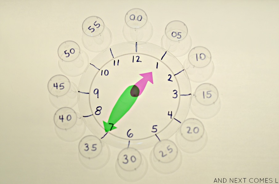 Learning to tell time on the light table from And Next Comes L