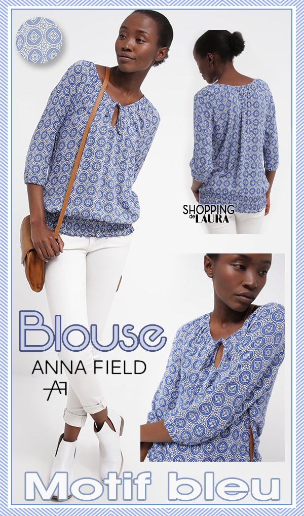 Chemise femme manches 3/4 bleue à motif ANNA FIELD