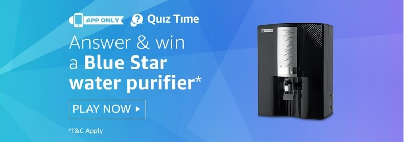 Amazon Quiz Time – Answer & Win Blue Star Water purifier