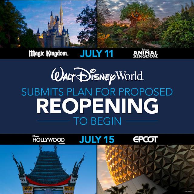 WDW, Reopen, Disney Magic Moments, 華特迪士尼世界度假區 各大樂園將於2020年7月分階段重開, Walt Disney World Resort Theme Parks will begin the Phased Reopening in July, 2020, Magic Kingdom Park, Disney's Animal Kingdom, EPCOT, Disney's Hollywood Studios