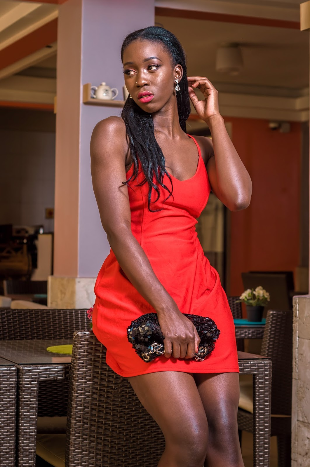 slip dress, what is a slip dress, style with Ezil, little red dress, broad shoulder women, how to style a slip dress, Kenyan fashion blogger