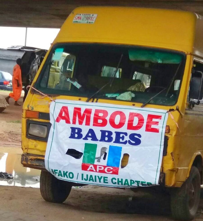 "Check out the ""Ambode Babes"" official bus seen in Lagos"