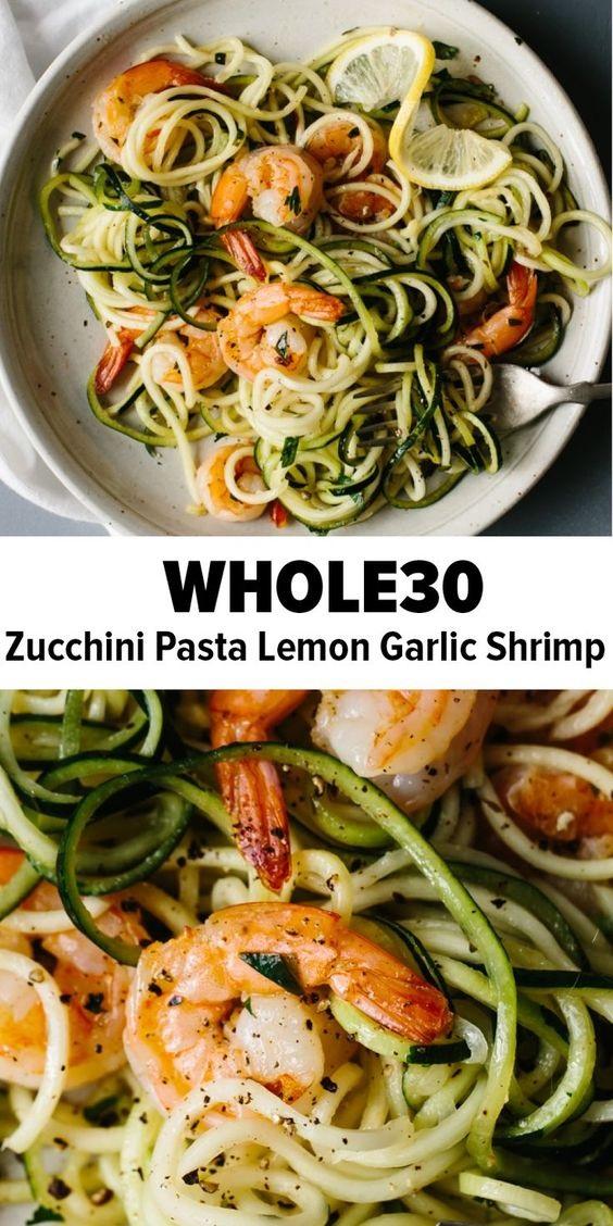 Zucchini Pasta With Lemon Garlic Shrimp