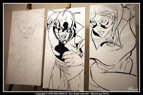dessins de Firestar, et Ant Man au marqueur sur toile