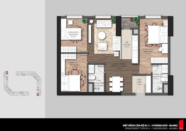 Thiết kế căn B1 diện tích 80,0m2 chung cư The Emerald