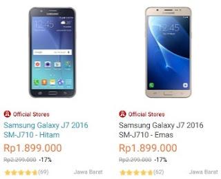 Harga Samsung Galaxy J7 edisi 2016 terbaru di Indonesia adalah Rp 1.899.000 (cicilan 12 bulan x Rp 158.250), disediakan oleh Lazada (update April 2018)