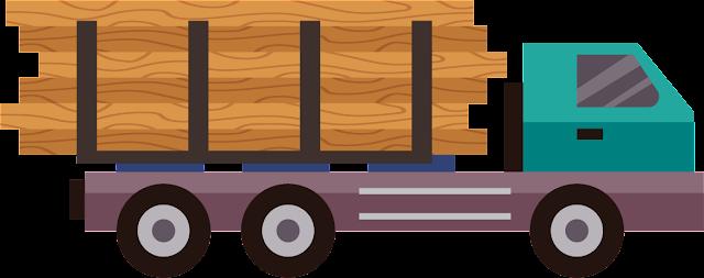 Odun Taşıyan Kamyon Vektör Çizim