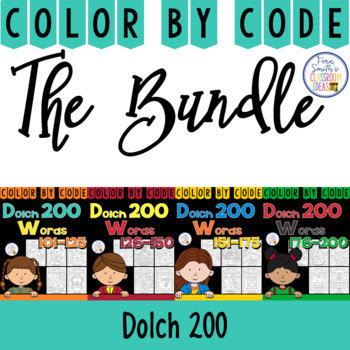 Your students will adore these TWENTY Dolch Words - Dolch 200 Color Your Answers worksheets while learning and reviewing ALL 200 words from the Dolch 200 list. Practice the Dolch Word reading skills at the same time as having some joy and fun of coloring in your classroom! You will love the no prep, print and go Color By Code Worksheets with Answer Keys Included. Bind them altogether for independent seat work, pass one out each morning for morning work / bell work. Perfect for homework that will not have confused and angry parent emails! Perfect for emergency substitute classroom work, answer keys included to help the sub. The possibilities are endless!  This reading resource includes:  * Five Dolch 200 - List 5  * Five Dolch 200 - List 6  * Five Dolch 200 - List 7  * Five Dolch 200 - List 8  * TWENTY Answer Keys