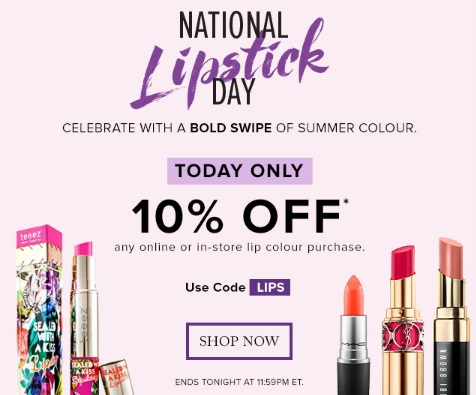Hudson's Bay National Lipstick Day 10% Off + 2 Free Lipsticks Promo Code
