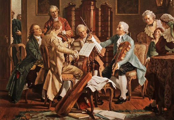 Joseph Haydn playing a string quartet