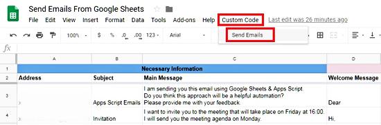 Send Emails Option