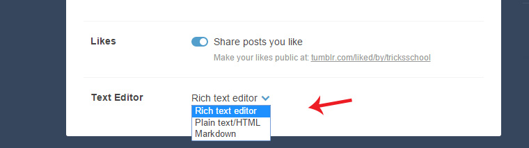 Change the Rich Text Editor to Plan Html Text Editor In Tumblr