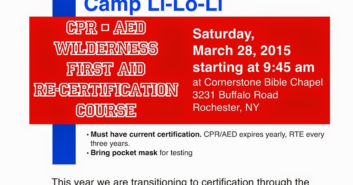 Cpr And Wilderness First Aid Recert Day At Cornerstone On March 28th