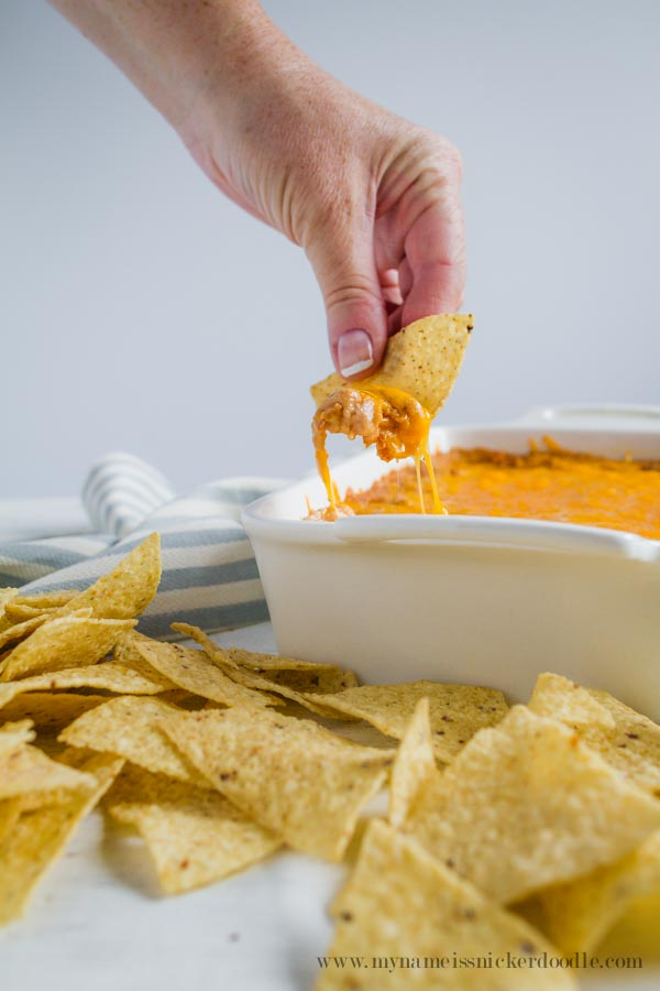 THE BEST Cheesy Bean Dip Recipe!  Perfect for any party!     mynameissnickerdoodle.com