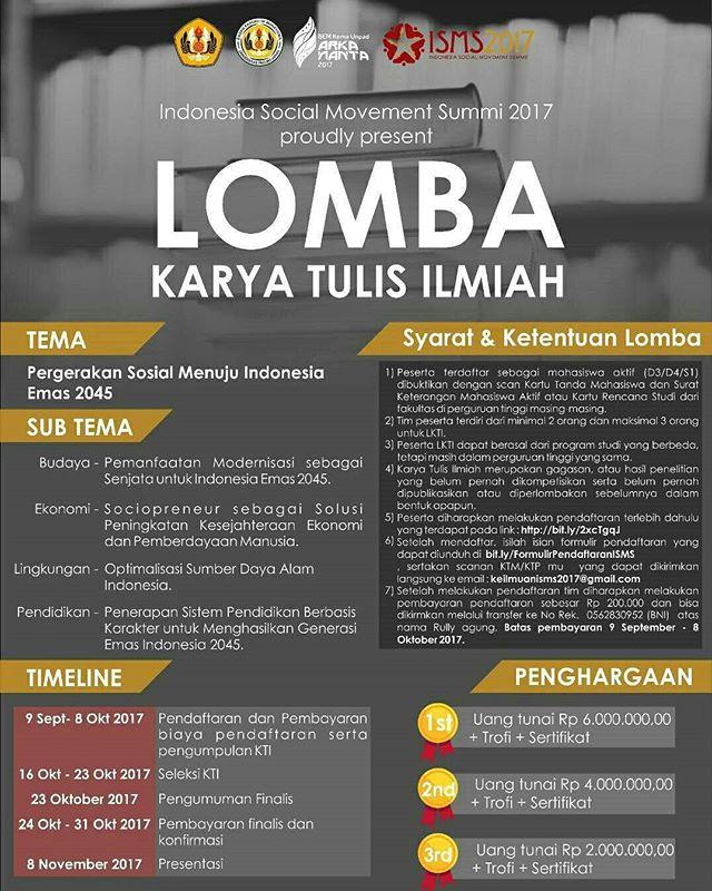 Lomba Karya Tulis Ilmiah Dan Paper ISMS 2017 | Univ. Padjajaran | Mahasiswa