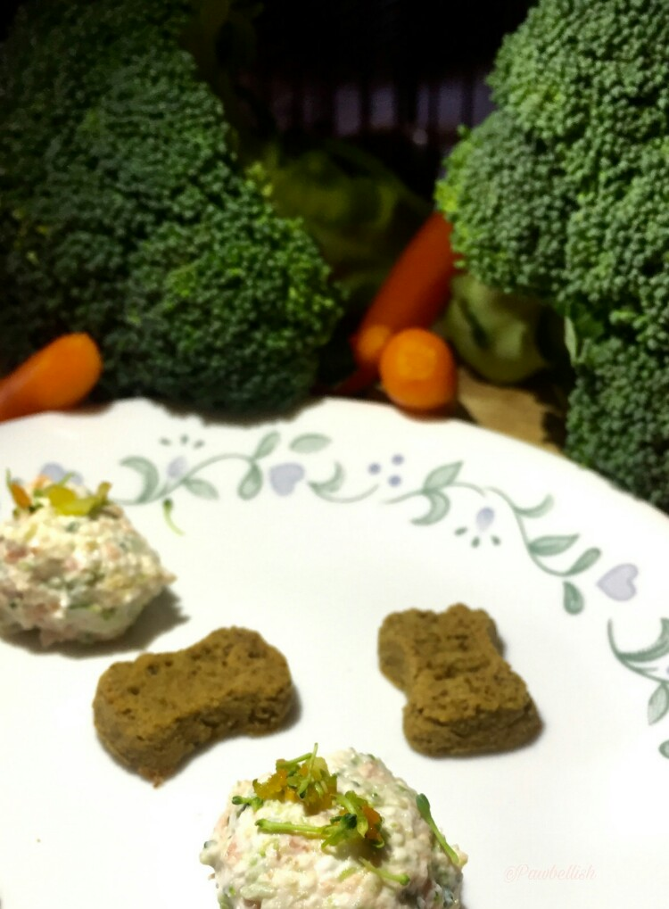 Plated savory veggie bites, garnished with finely chopped broccoli, carrot mix,  and mini dog bones
