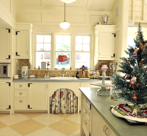 coastal kitchen with Christmas tree