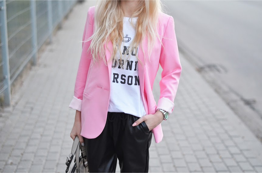 WHITE TEE, CANDY PINK BLAZER & LEATHER JOGGERS